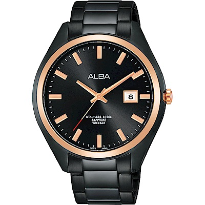 ALBA雅柏 城市情人時尚手錶(AS9F82X1)-黑x玫塊金框/42mm