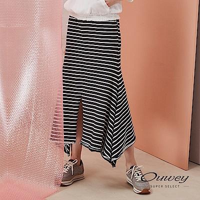 OUWEY歐薇 條紋造型微開衩魚尾長裙(黑)