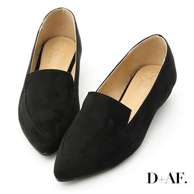 D+AF 都會俐落.絨料尖頭金屬低跟鞋*黑