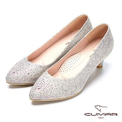 【CUMAR】璀璨閃耀-金蔥條紋彩鑽點綴尖頭高跟鞋