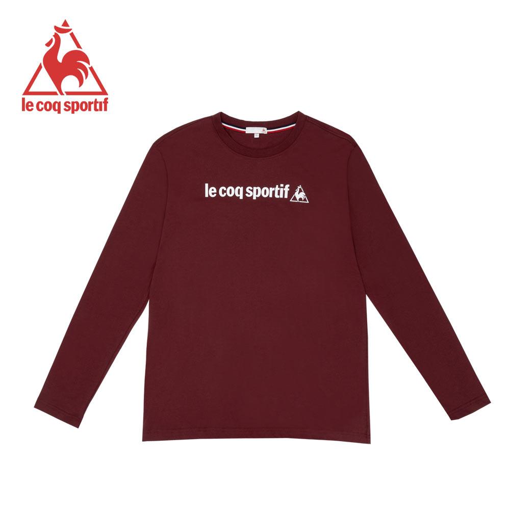 le coq sportif 法國公雞牌復古LOGO印花圓領長袖T恤 男-暗紅
