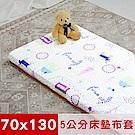 米夢家居-夢想家園-冬夏兩用精梳純棉+紙纖蓆面5cm嬰兒床墊換洗布套70X130cm白日夢