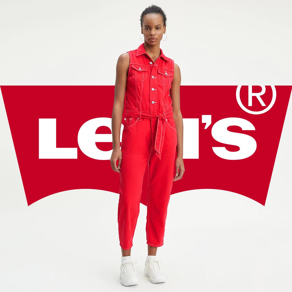 Levis 女款 牛仔連身褲 時尚中高腰無袖設計 個性紅丹寧