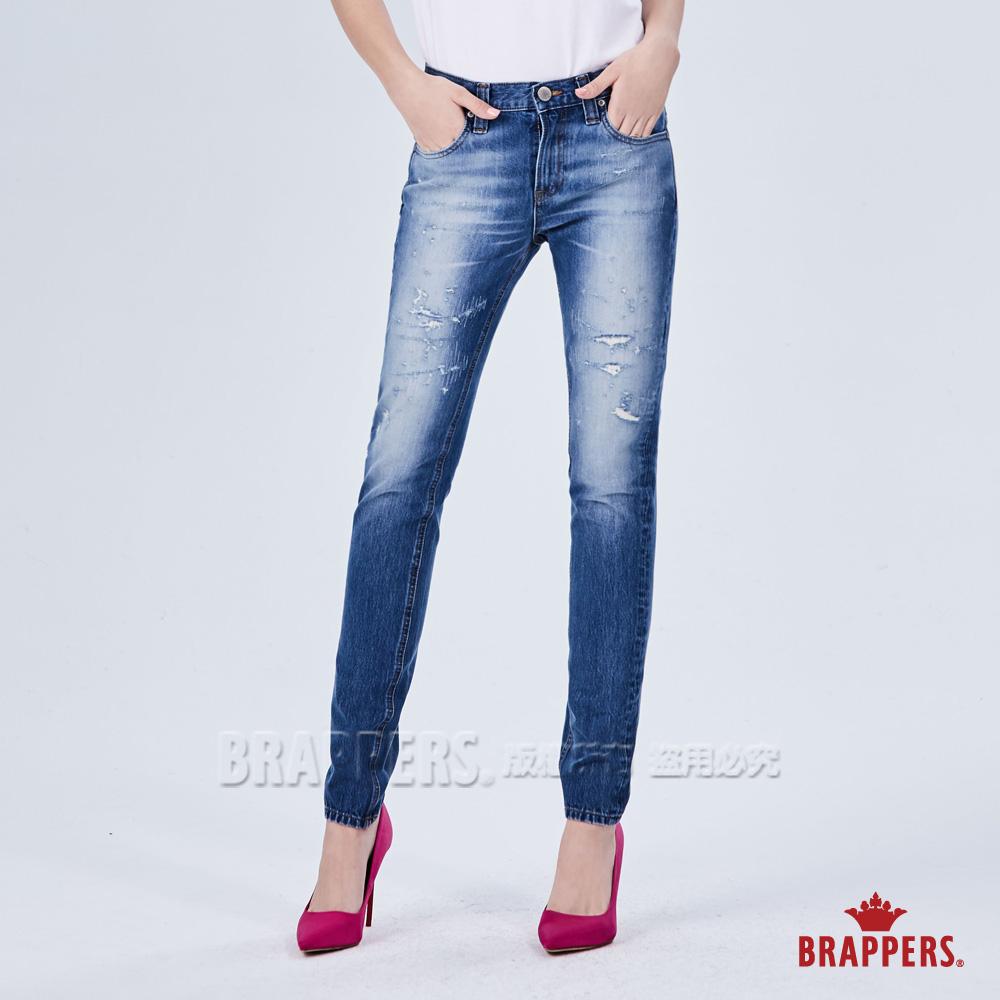 BRAPPERS 女款 新美腳 ROYAL系列-不規則磨破彈性八分褲-藍 @ Y!購物