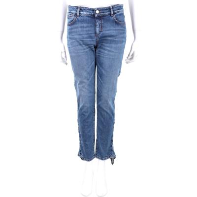MAX MARA-SPORTMAX 荷葉邊造型藍色刷色牛仔褲