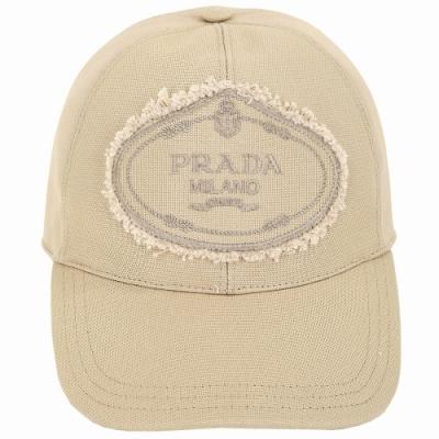 PRADA 品牌家徽不修邊設計帆布棒球帽(卡其色)