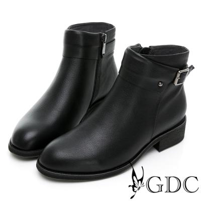 GDC-秋冬巴黎風情側釦環真皮低跟短靴-黑色