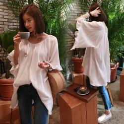 La Belleza袖口大荷葉垂墬喇叭袖圓弧領寬鬆棉麻上衣