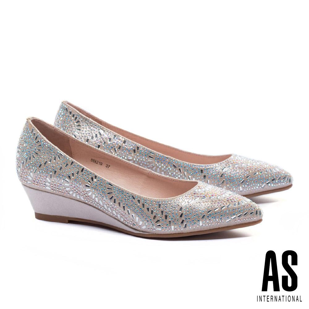 低跟鞋 AS 絢爛層次雙型晶鑽全真皮尖頭楔型低跟鞋-金