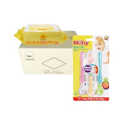 黃色小鴨盒蓋嬰兒純水柔濕巾(80抽*24包/箱)+Nuby 旅行湯匙組(三入/附盒)/隨機出貨*1