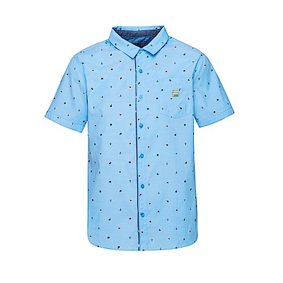 FILA 男款短袖襯衫-淺藍 1WST-1705-LB