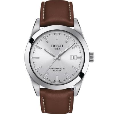 TISSOT 天梭 GENTLEMAN 經典紳士機械錶(T1274071603100)40mm