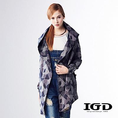 IGD英格麗 悠閒幾何印花中長版連帽大衣外套-深藍