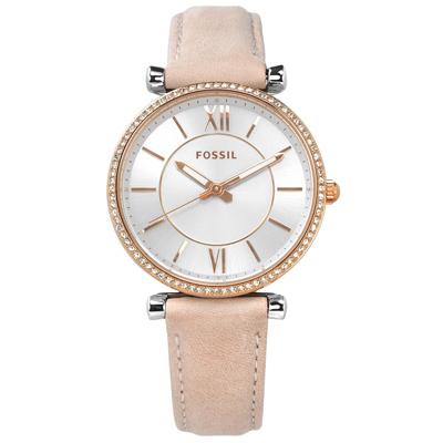 FOSSIL 優雅晶鑽羅馬刻度真皮手錶-銀x玫瑰金框x淺粉/34mm