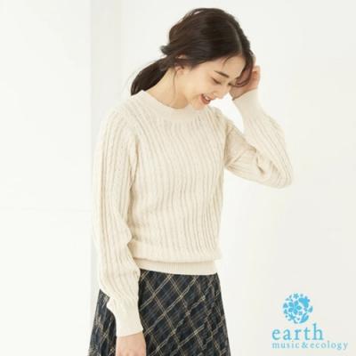 earth music 有機棉定番麻花編織圓領針織衫