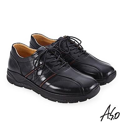 A.S.O 3A全掌氣墊 運動機能款休閒鞋 黑
