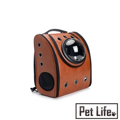 Petlife 寵物外出旅遊攜帶型雙肩後背包/透氣孔設計太空包 棕