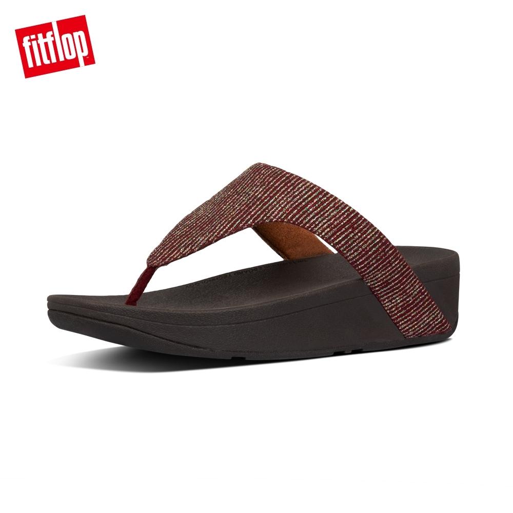【FitFlop】LOTTIE GLITTER-STRIPE TOE-THONGS夾腳涼鞋-女(栗色)