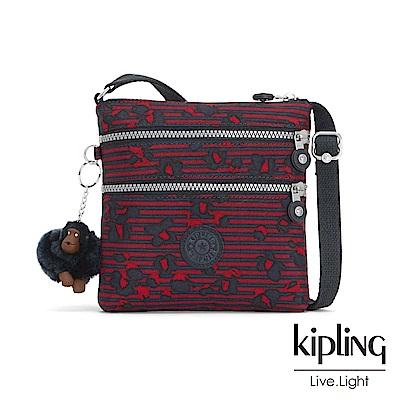 Kipling 高雅紅花條紋收納多夾層側背包-ALVAR S