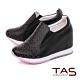 TAS水鑽編織格紋素面內增高休閒鞋–個性黑 product thumbnail 1