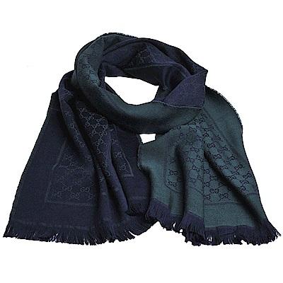 GUCCI SU SOFT GG LOGO 羊毛雙面寬版造型披肩/圍巾(深藍/綠)
