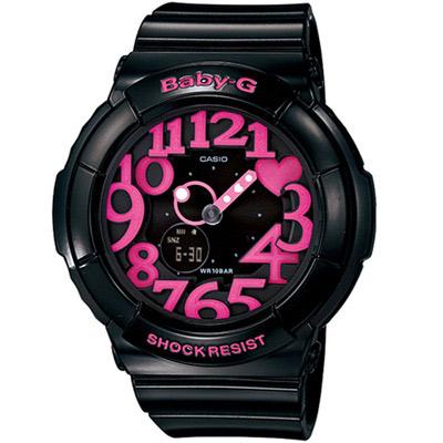 BABY-G 霓虹時尚 運動錶(BGA-130-1B )黑x桃紅43.1mm