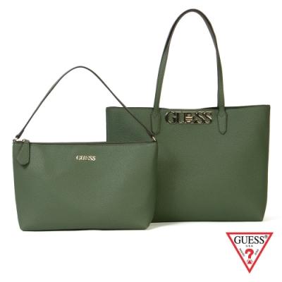 GUESS-女包-簡約皮革子母托特包-綠