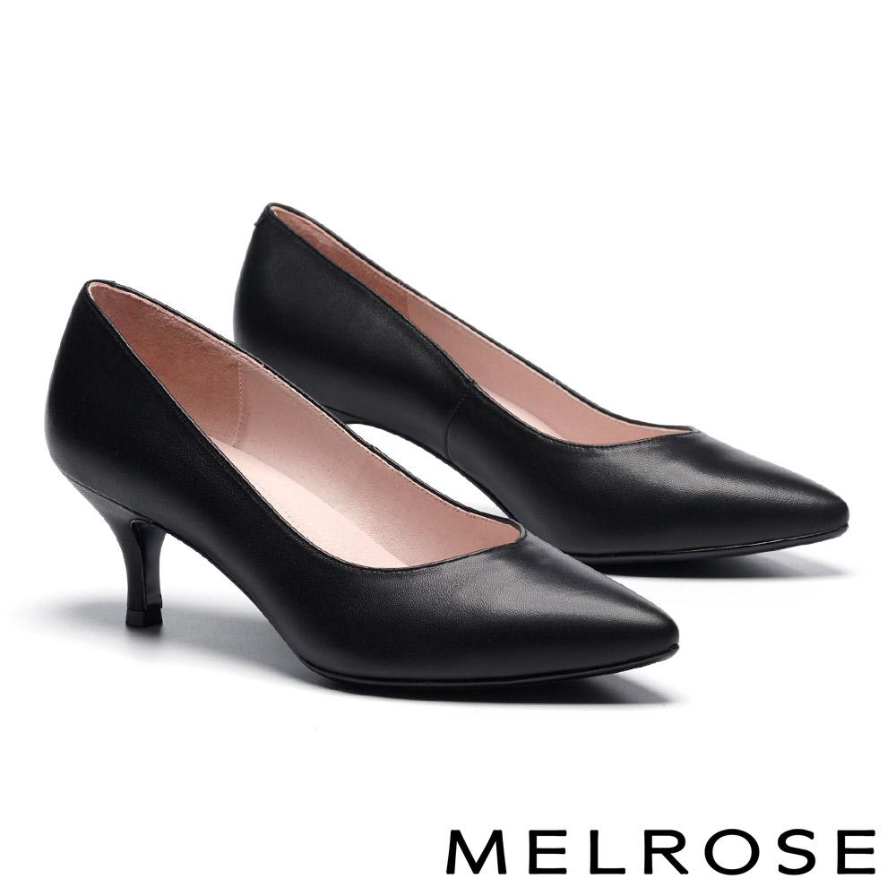 高跟鞋 MELROSE 極簡主義內斂素雅全真皮尖頭高跟鞋-黑
