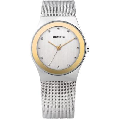 BERING丹麥精品手錶 晶鑽米蘭帶系列 藍寶石鏡面 銀x金27mm