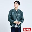 EDWIN EFS 貼布繡 防寒棒球外套-男-墨綠色
