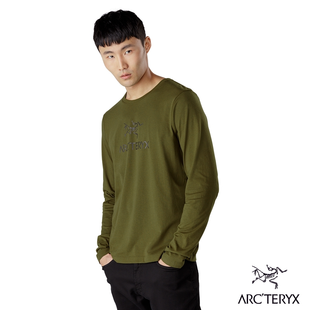 Arcteryx 始祖鳥 男 24系列 LOGO 百分百有機棉 長袖T恤 叢林綠
