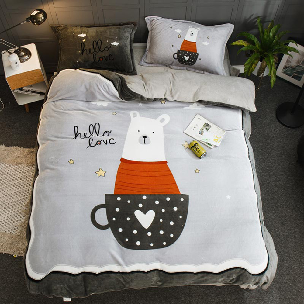 BUNNY LIFE 貝貝熊-雙人-極柔加厚法蘭絨床包四件組