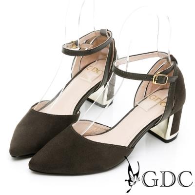 GDC-秋意感氣質名媛繞踝粗跟金屬釦環中空尖頭低跟鞋-綠色
