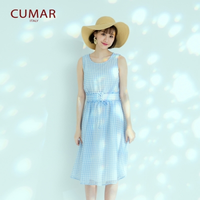 【CUMAR】甜美格紋-女無袖洋裝(二色/版型適中)