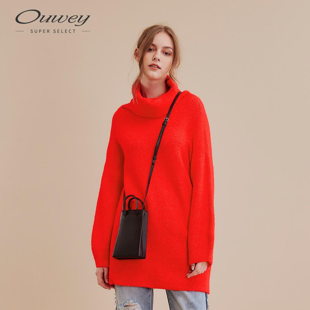 OUWEY歐薇 亮麗高領長版針織上衣(藍/紅)