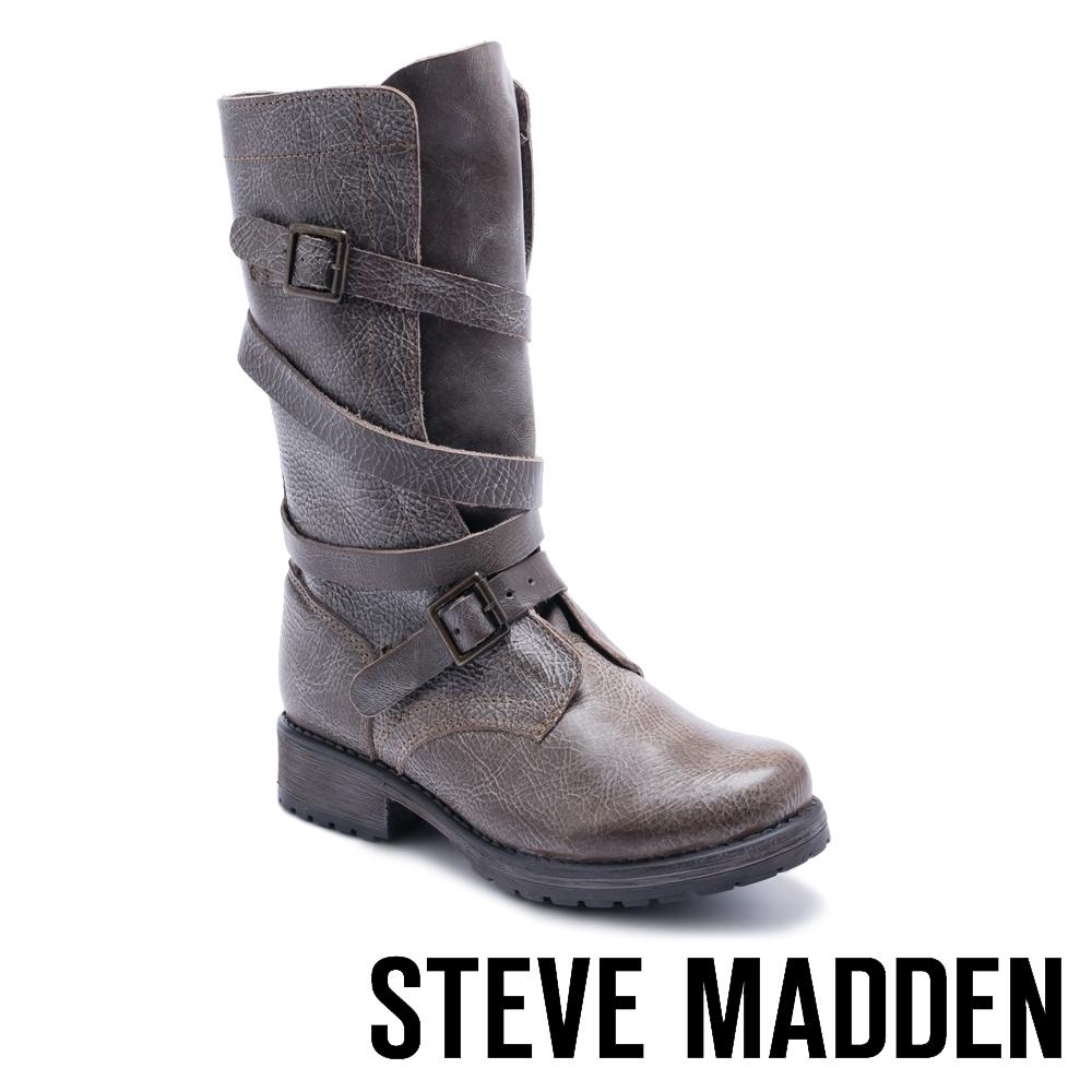 STEVE MADDEN-BANDDIT冒險粗獷真皮環繞式肩帶扣飾高筒靴-棕色