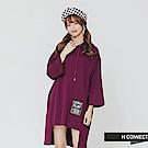 H:CONNECT 韓國品牌 女裝-不規則下擺個性長板帽T-紫