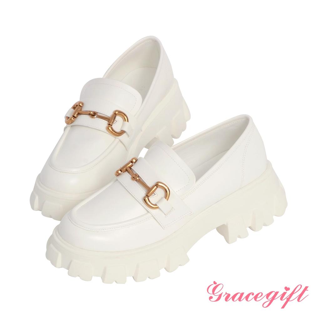 Grace gift-馬銜釦輕量鋸齒厚底樂福鞋 白