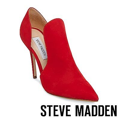 STEVE MADDEN-DANCE 素面尖頭側空高跟鞋-紅色