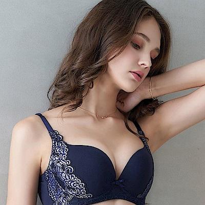 EASY SHOP-微醺戀語 A-D罩成套內衣(沉穩藍)