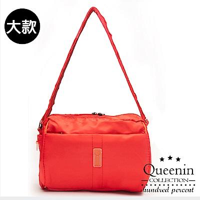 DF Queenin流行 - 日系甜美輕盈反光條防潑水斜背包-大-紅色