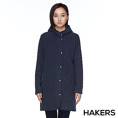 【HAKERS 哈克士】女款 保暖長版刷毛外套(石墨藍)