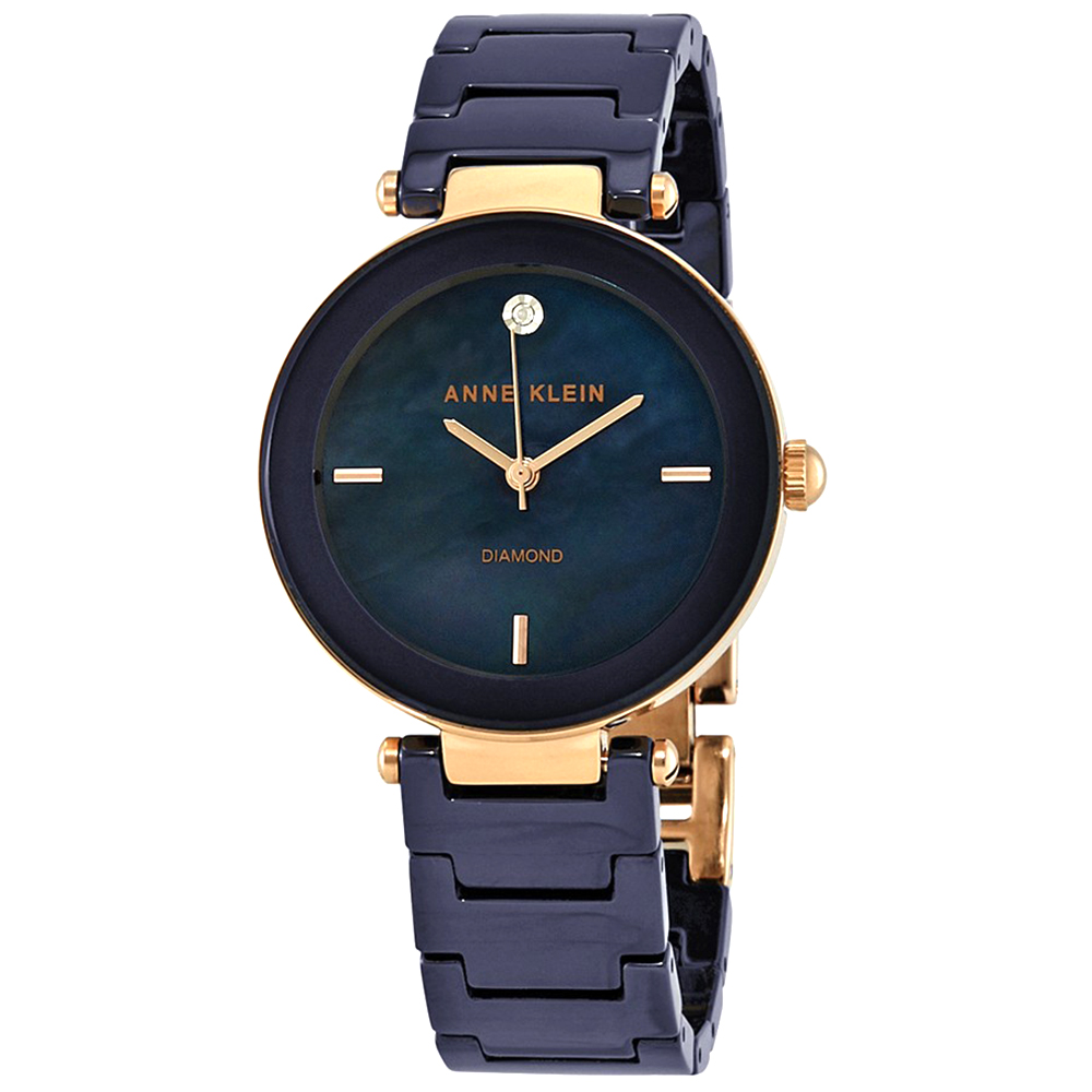 Anne Klein 恬靜美學深海藍復古奢華感陶瓷腕錶-藍色x33mm