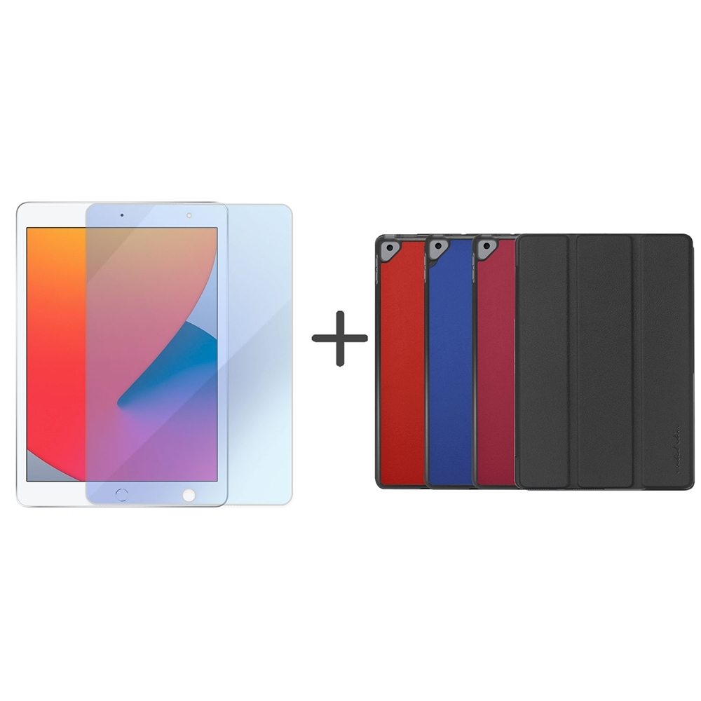 Metal-Slim Apple iPad 10.2 2020(第8代) 高仿小牛皮三折磁吸立架式皮套+抗藍光玻璃保護貼