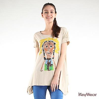 KeyWear奇威名品    印地安彩繪短袖上衣-卡其色