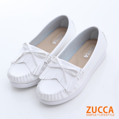ZUCCA-流蘇車縫朵結平底鞋-白-z6601we