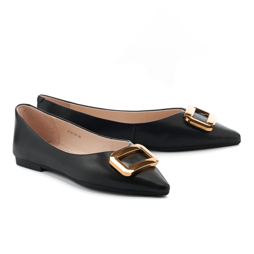 平底鞋 HELENE SPARK 都會金屬大方釦全真皮尖頭平底鞋-黑