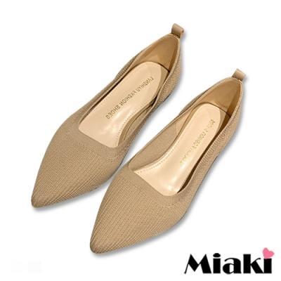 Miaki-高跟鞋小資韓風針織尖頭鞋-米