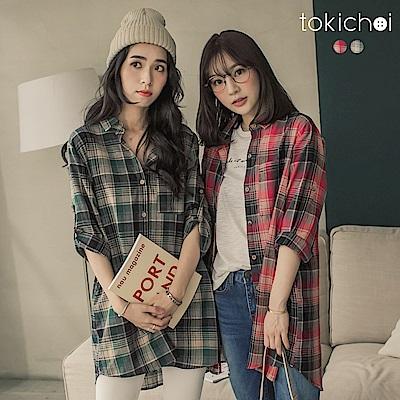 東京著衣 極簡主義格紋寬鬆長版襯衫(共二色)