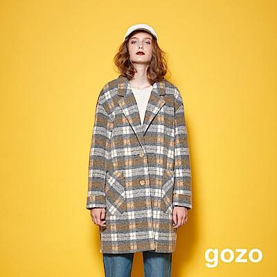 gozo經典英倫風西裝領羊毛格紋外套(二色)